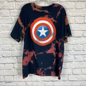 Captain America graphic bleached T-shirt